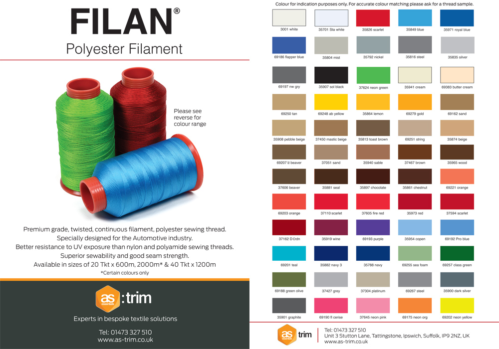 Filan A5 Thread Colour Guide Leaflet