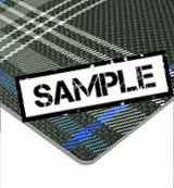 VW Golf GTE Tartan Blue Seating Fabric Sample